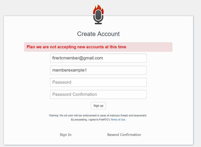 Update on Account Creation - FireRTC Community